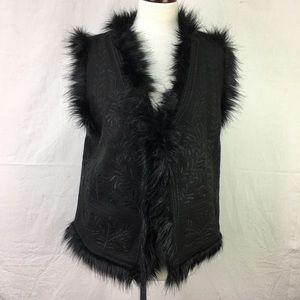 Miss Me Vintage Black Embroidered Faux Fur Vest